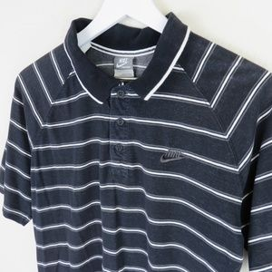 Nike Shirts - Nike Black Retro Style Striped Polo Shirt